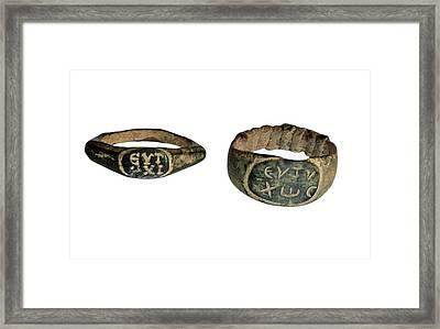 Roman Bronze Rings Framed Print by Photostock-israel