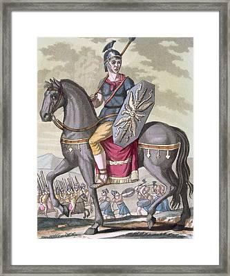 Roman Cavalryman Of The State Army Framed Print by Jacques Grasset de Saint-Sauveur