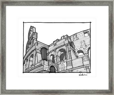Framed Print featuring the drawing Roman Colosseum by Calvin Durham