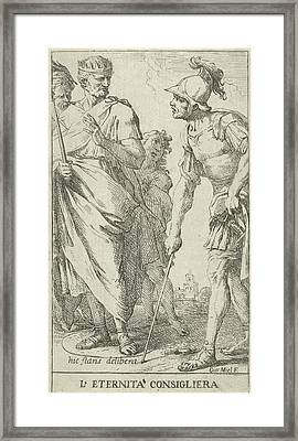 Roman Consul Popilius Laenas Draws A Circle In The Sand Framed Print