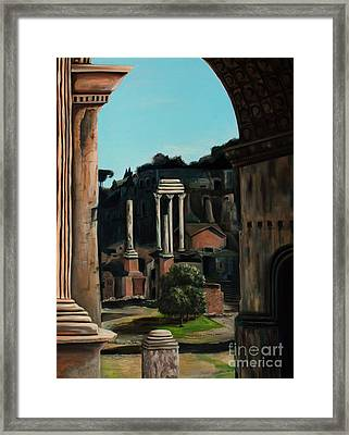 Roman Forum Framed Print by Nancy Bradley