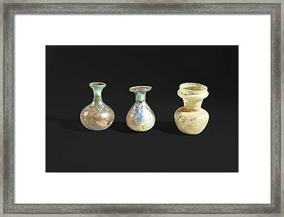 Roman Glass Bottles And Jar Framed Print