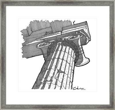 Framed Print featuring the drawing Roman Ionic Column Capital by Calvin Durham