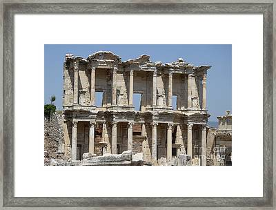 Roman Library Of Celsus Framed Print