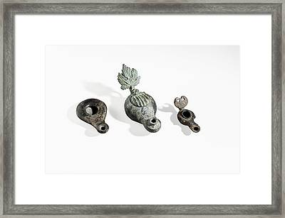 Roman Period Bronze Oil Lamp Framed Print