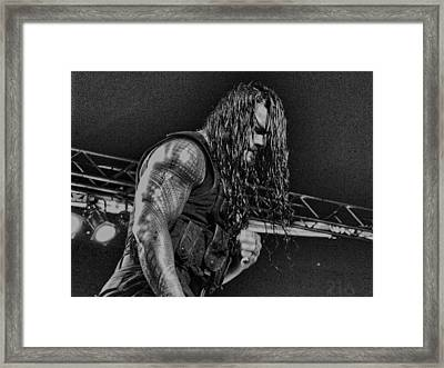 Roman Reigns Charcoal By Gbs Framed Print