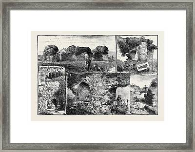 Roman Remains At Walls Castle Framed Print by English School