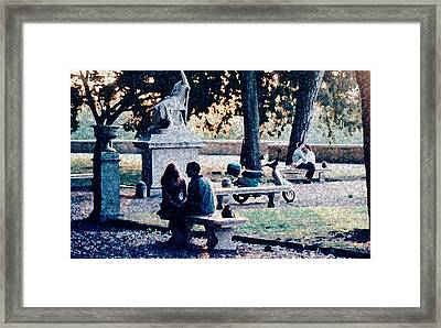 Framed Print featuring the photograph Roman Romance Tivoli Gardens by Tom Wurl