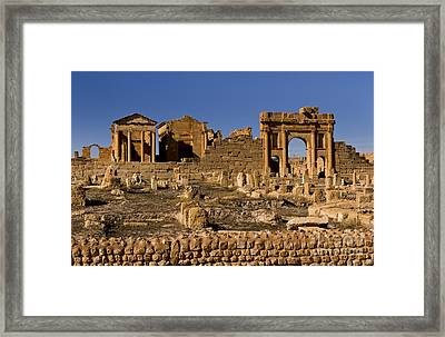 Roman Ruins Of Sufetula In Town Framed Print by Bill Bachmann