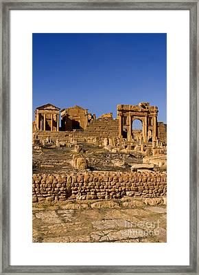 Roman Ruins Of Sufetula, Tunisia Framed Print by Bill Bachmann