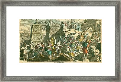 Roman Soldiers Storming A City Framed Print by Mid-manhattan Picture Collection/new York Public Library