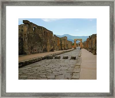 Roman Street In Pompeii Framed Print
