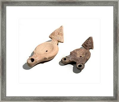 Roman Terracotta Oil Lamps Framed Print
