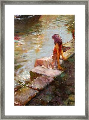 Romance In Venice Viola Framed Print by Ylli Haruni