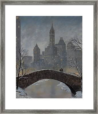 Romance On Gapstow Bridge Framed Print
