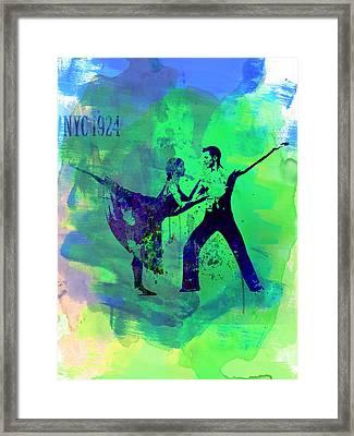 Romantic Ballet Watercolor 1 Framed Print by Naxart Studio