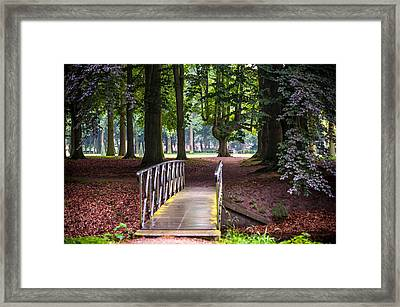 Romantic Bridge To Shadow Place. De Haar Castle Framed Print by Jenny Rainbow