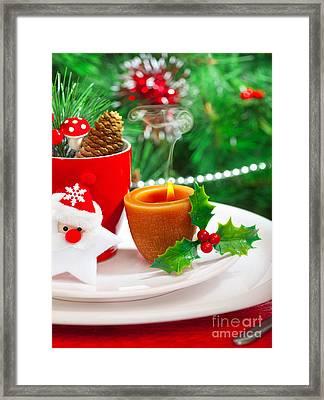 Romantic Christmastime Dinner Framed Print by Anna Om