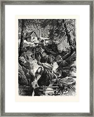 Romantic Industries Of The Alps Marble Mills Framed Print by Austrian School