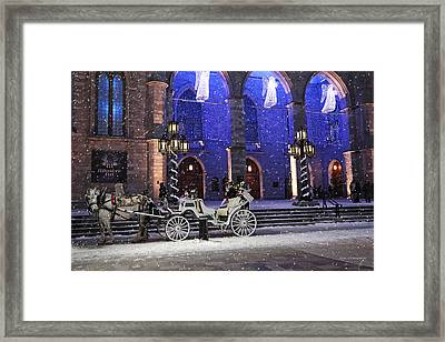 Romantic Night Lights Ride In Old Montreal?   Framed Print