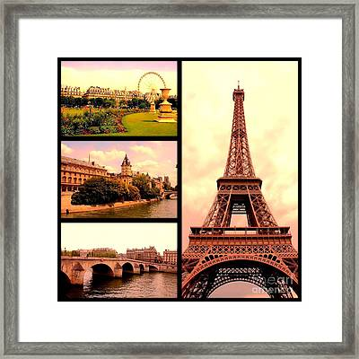 Romantic Paris Sunset Collage Framed Print by Carol Groenen