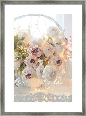 Romantic Shabby Chic Dreamy Pink And White Peonies - Shabby Chic Peonies In Basket Framed Print by Kathy Fornal