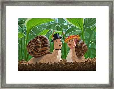Romantic Snails On A Date Framed Print by Martin Davey