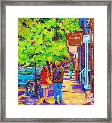 Romantic Stroll Along Rue Laurier Montreal Street Scenes Paintings Carole Spandau Framed Print by Carole Spandau