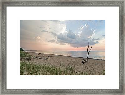 Romantic Sunset At Agate Beach Framed Print