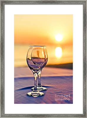 Romantic Sunset Drink With Wine Glass Framed Print by Tuimages