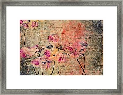 Romantiquite - Carte Postale  Framed Print by Variance Collections