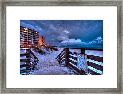 Romar Beach Clouds Framed Print