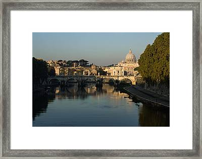 Rome - Iconic View Of Saint Peter's Basilica Reflecting In Tiber River Framed Print