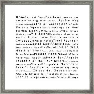 Rome In Words White Framed Print