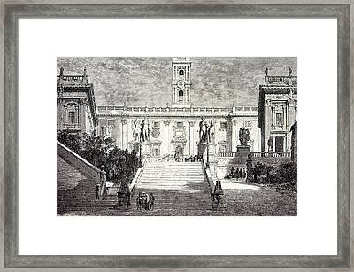Rome Italy 1875 Facade Of The Senatorial Palace Framed Print