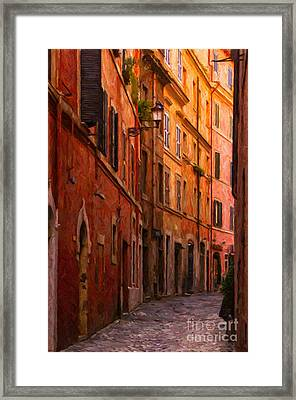 Rome Narrow Street Painting Framed Print