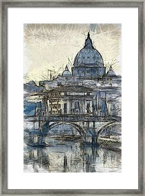Rome Saint Peters Basilica Sketch Framed Print