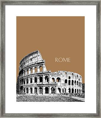 Rome Skyline The Coliseum - Brown Framed Print by DB Artist