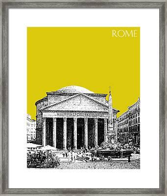 Rome Skyline The Pantheon - Mustard Framed Print by DB Artist