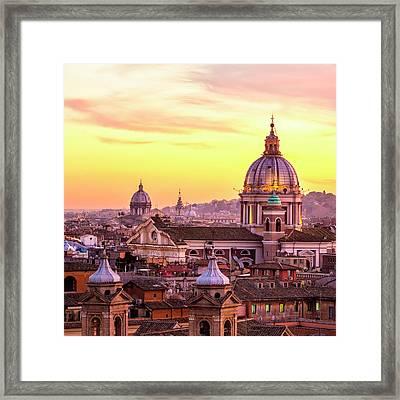 Rome Skyline With Church Cupolas, Italy Framed Print by Romaoslo