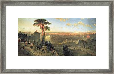 Rome, Sunset From The Convent Of San Onofrio On Mount Janiculum, 1856 Oil On Canvas Framed Print