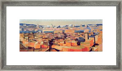 Rome, View From The Spanish Academy On The Gianicolo, Dusk, 1968 Oil On Canvas See Also 213354 & Framed Print by Izabella Godlewska de Aranda