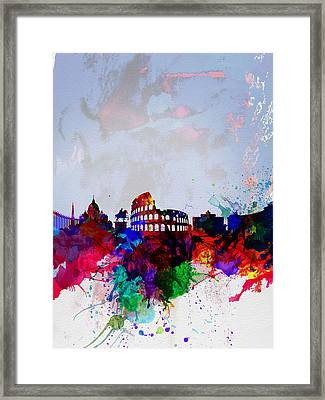 Rome Watercolor Skyline Framed Print by Naxart Studio