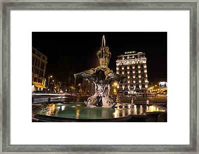 Rome's Fabulous Fountains - Bernini's Fontana Del Tritone Framed Print by Georgia Mizuleva