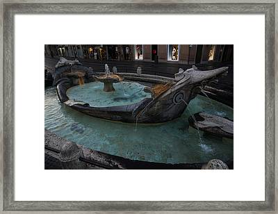Rome's Fabulous Fountains - Fontana Della Barcaccia At The Spanish Steps  Framed Print