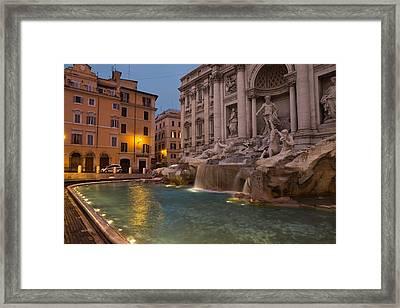 Rome's Fabulous Fountains - Trevi Fountain At Dawn Framed Print by Georgia Mizuleva