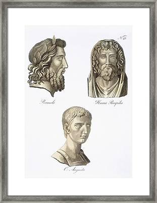 Romulus, Numa Pompilius And Augustus Framed Print