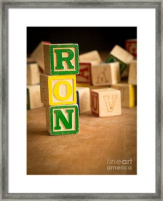 Ron - Alphabet Blocks Framed Print by Edward Fielding