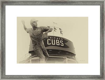 Ron Santo Chicago Cub Statue In Heirloom Finish Framed Print by Thomas Woolworth