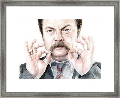 Ron Swanson Mustache Portrait Framed Print by Olga Shvartsur